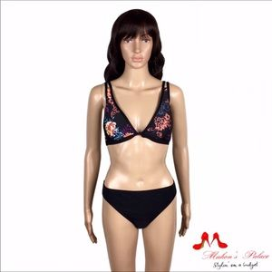 Splendid Swim - Black Mlt Floral Halter Bikini Top
